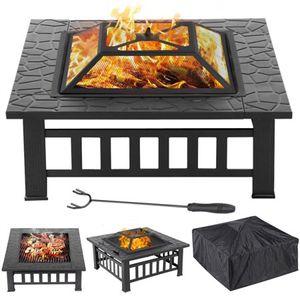 Merax Feuerschale Feuerstelle mit Grillrost, Feuerkorb mit Funkenschutz Fire Pit für BBQ, Heizung, Garten Terrasse Metall Feuerkorb 3 in 1 Feuerstelle