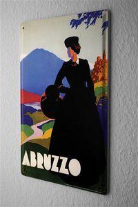 Blechschild Stadt Abruzzo Frau Hutschachtel Schloss Berge