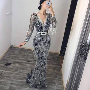 Glitter Paillettenkleid Quaste Meerjungfrau Abendkleid