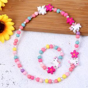 H?lzerne bunte Kinder Schmuck Set Einhorn Perlen Halskette und Armband Geschenk für Party Geburtstag