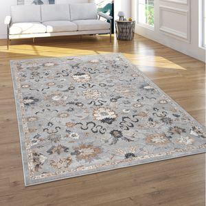 Teppich Wohnzimmer Kurzflor Orient Muster Mit Ornamenten 3D Effekt Grau Beige, Grösse:240x340 cm