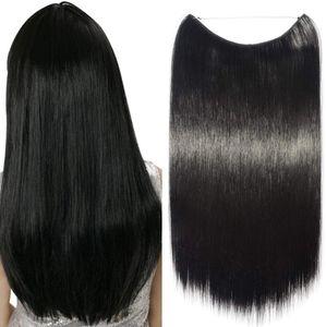 S-noilite Haarteil Extensions Haarverlängerung 1 Tresse Haare Haarverdichtung Glatt mit Unsichtbarer Draht Schwarz 50 cm