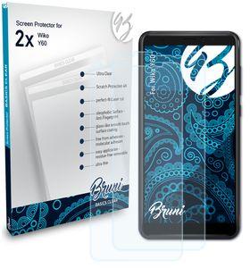 Bruni Basics-Clear 2x Schutzfolie kompatibel mit Wiko Y60 Folie