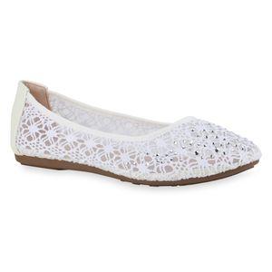 Mytrendshoe Damen Klassische Ballerinas Spitzenstoff Flats Strass Slipper 832917, Farbe: Weiß Tan, Größe: 40
