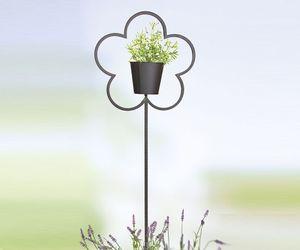 Gartenstecker 'Blumentopf', 110 cm, dunkelbraun