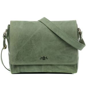 SID & VAIN Messenger Laptoptasche SPENCER Büffelleder grün Businesstasche Laptoptasche Messenger Bag