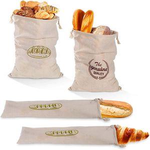 CYE Leinen Brotbeutel Brotsack,4 Pack Wiederverwendbare Brot Tasche, Brotbeutel und Baguettebeutel für hausgemachte handwerkliche Brot Baguette Lebensmittel Lagerung, Bäcker.