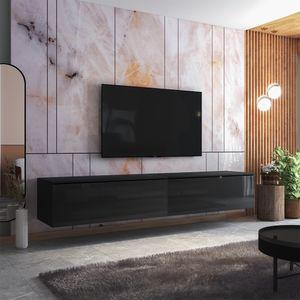 Selsey TV-Lowboard SKYLARA -  TV-Möbel in Schwarz Matt / Schwarz Hochglanz - 200 cm breit - stehend / hängend