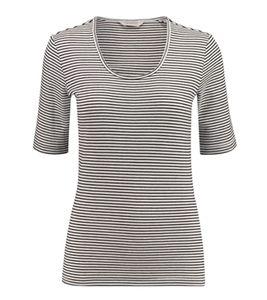 SCOTCH & SODA Ringel-Shirt schlichtes Damen T-Shirt mit halblangen Ärmeln Weiß/Schwarz, Größe:L