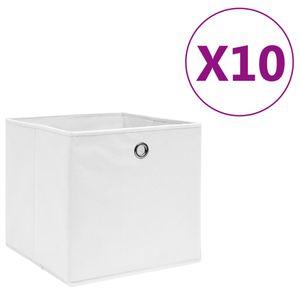 vidaXL Aufbewahrungsboxen 10 Stk. Vliesstoff 28x28x28 cm Weiß