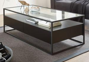 Couchtisch Evora in schwarz Wohnzimmer Tisch modern mit 2x Schublade und Tischplatte aus Glas als Sofatisch mit 120 x 60 cm