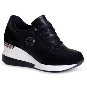 topschuhe24 1999 Damen Keilabsatz Sneaker Halbschuhe, Farbe:Schwarz, Größe:40 EU