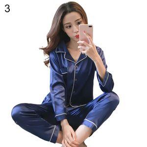 Damen Satin Pyjama Set V-Ausschnitt Langarm Einfarbig Zweiteilige Nachtwäsche||Blau||L