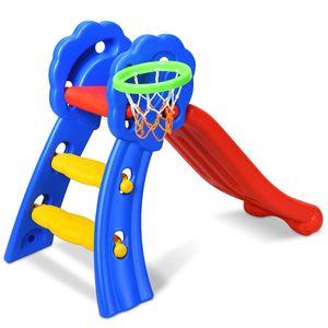 COSTWAY Rutsche Kinder Rutschbahn Kinderrutsche Gartenrutsche Wellenrutsche Kleinkinderrutsche fuer Indoor und Outdoor mit Basketballkorb 108 x 68 x 71,5cm Bunt