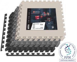 Hop-Sport Puzzlematte 9er Set - Unterlegmatte für Fitnessgeräte als Rutschfester Bodenschutz - Größe 60 x 60 x 1 cm -  Schwarz/Weiß/Grau