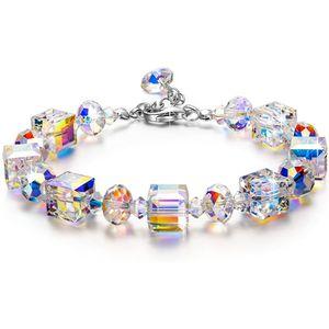 damen armband Swarovski Valentinstag Kleine Romantik, Damen Armband, Aurora Borealis Kristall von Swarovski, Geschenkverpackung, bestes Schmuck Geschenk für Frauen Mädchen