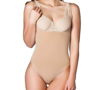 Miss Perfect Shapewear Damen - Bauchweg Body Damen (Plus Size 1X-5X) Torsette Body Shaper Damen Miederbody Bauch weg Shape Body - nahtlos & formend, Farbe:Haut (SK), Größe:1XL