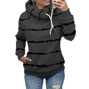 Damen gestreifter Hoodie lässiges Top-Sweatshirt,Farbe: Dunkelgrau,Größe:M