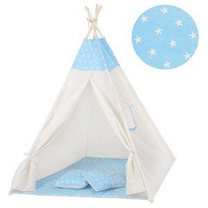 Tipi Zelt Kinder Spielzelt Baumwolle 2 Kissen Kinderzelt 160x120x100 cm - Blau/Sterne