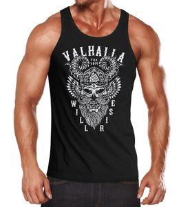Herren Tank-Top Valhalla Will Rise Viking Helm Odin Krieger Muskelshirt Muscle Shirt Neverless® schwarz XXL
