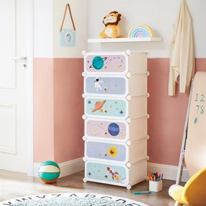 SONGMICS Kinderschuhregal mit 6 Fächern Schuh-Organisator Kleiderschrank mit Türen für Kinder 43 x 31 x 105 cm, weiß LPC904W01