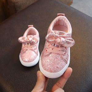 Kinder Baby Mädchen Jungen Bling Pailletten Bowknot Crystal Run Sport Sneakers Schuhe Größe:23,Farbe:Rosa