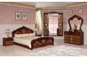 Barock Schlafzimmer Remo in Walnuss 6-Teilig 180 x 200 cm - 6-Türig
