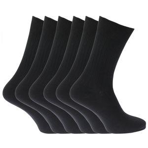 Herren Strümpfe / Socken, 100% Baumwolle, gerippt, 6er-Pack MB144 (39-45 EU) (Schwarz)