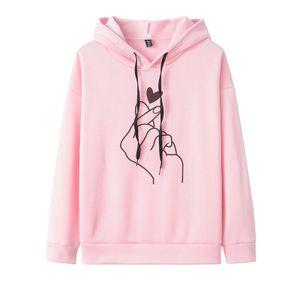Damen casual Hoodie Shirt Sweater Hoodie Top, Farbe: Pink, Größe: XXL