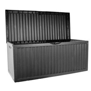 KISSENBOX Gartentruhe Truhe Gartenbox 330L 120x52x54cm Kunststoff anthrazit