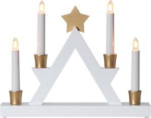 Fensterleuchter 'Julle' mit Stern - 4flammig - warmweiße Glühlampen - H: 26cm - Weiß/Gold