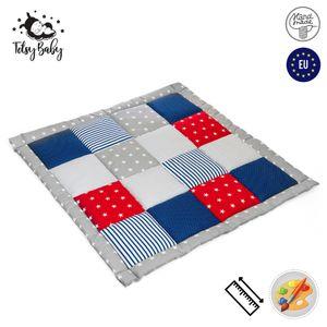 Krabbeldecke Patchwork Spieldecke Baby - Patchworkdecke als laufgittereinlage groß gepolstert 100x100 cm, Blau-Rot-Grau