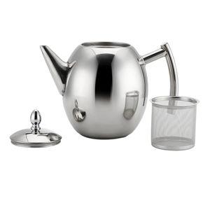 Edelstahl Teekanne mit Siebeinsatz Kaffeekanne / Teekanne mit sieb (Silber) 1L Silber