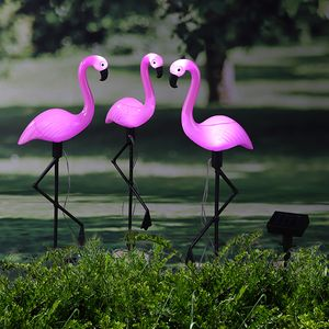 Gartenfigur Design Solarstecker Flamingo 3er Set Höhe 52 cm LED SOLAR Sensor NEU