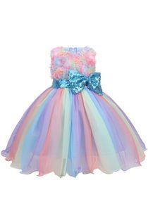 Mädchen Prinzessin Kleid,Tüll Tutu Partykleid mit 3D-Blumenmuster, Rüschensaum, ärmellos Bowknot Abendkleid Blau Gr.140