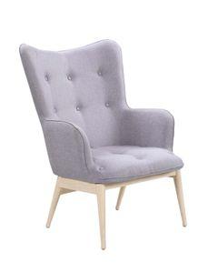 SIT Möbel Polstersessel | Bezug Stoff hellgrau | Gestell Stahl in Holzoptik natur | B 87 x T 71 x H 98 cm | 02441-05 | Serie SIT&CHAIRS