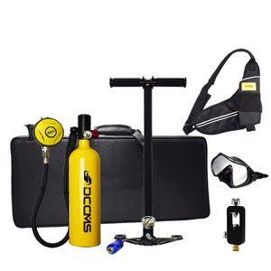 DCCMS DS-810 1L Tragbares Tauchen Tauchflasche Taucher Ersatz Sauerstoff Ausrüstung Mini Sauerstoffflasche mit Hochdruckpumpe, Gelb
