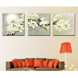 3er-Set Wandbilder Kunstdruck Leinwand Bilder Set für Wohnzimmer Schlafzimmer Nachbildung -Orchidee 40 * 40 cm Weisse Orchidee Art Deco
