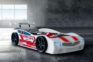 Autobett SPX in weiß/rot mit LED 90 x 190 cm