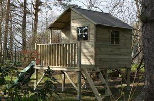 Kinderspielhaus Spielhaus Holz-Gartenhaus Spielhütte aus Holz für Kinder - (3992)