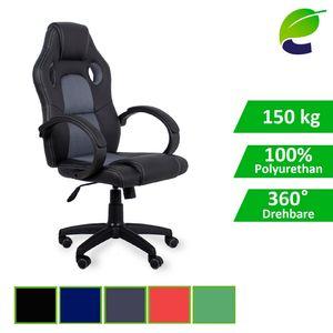 ecoMI - Gaming Stuhl Bürostuhl Schreibtischstuhl Computer Racing Sportsitz Chefsessel Drehstuhl - Grau