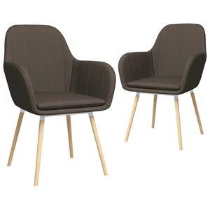 vidaXL Esszimmerstühle mit Armlehnen 2 Stk. Taupe Stoff