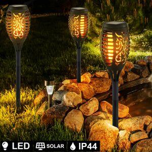 Miixia 3 x LED SOLAR Außen Steck Fackel Lampe Weg Leuchte Feuer-Effekt Erdspieß Garten