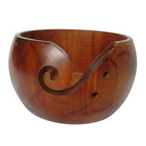 6 zoll hölzerne garn schüssel hand gefertigte holzschüssel für stricken häk 15x8cm Braun Garnschale