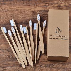 10pcs mischt Farbe Bambus Zahnbürste weiches Haar Erwachsene Mundpflege Zahnbürste -(10 Stück Weiß,)