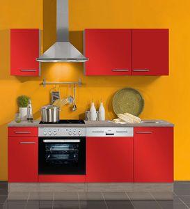 Küchenblock ohne Elektrogeräte Imola 210 cm in signalrot glänzend mit Edelstahl Einbauspüle