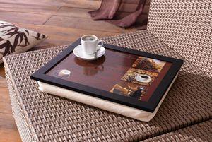 """Knie-Tablett mit Kissen """"Kaffee"""", Maße 43 x 33 x 7 cm"""