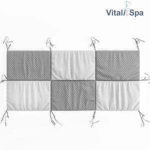 VitaliSpa Hausbett Kinderbett Bettrückwand Wiki 160x72 Grau-Weiß