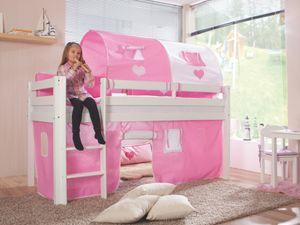 Relita - Halbhohes Spielbett Alex Buche massiv weiß lackiert mit Stoffset rosa/weiß/herz