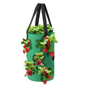 H?ngende Erdbeerpflanzung Filztuch Pflanzbeh?lter Tasche Verdicken Gartentopf